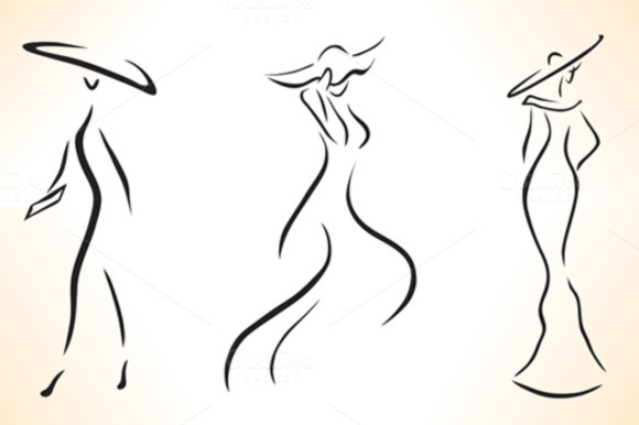 3 Silhouettes Of Stylized Women