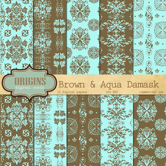 Brown And Aqua Damask Digital Paper