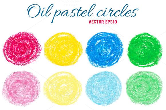 8 Oil Pastel Circles