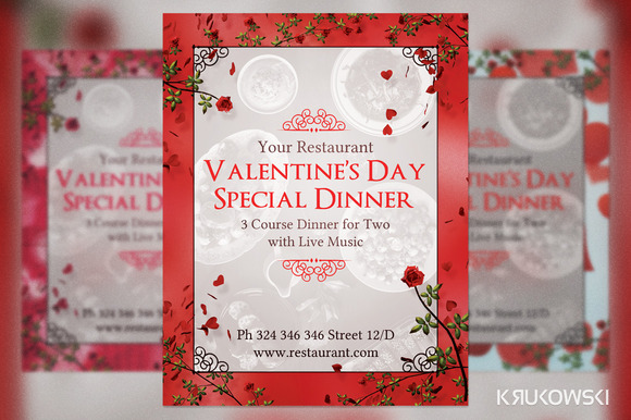 Valentine S Day Dinner For Two Flyer