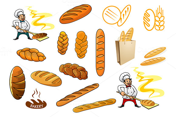 Bakers Bread And Isolated Baguettes