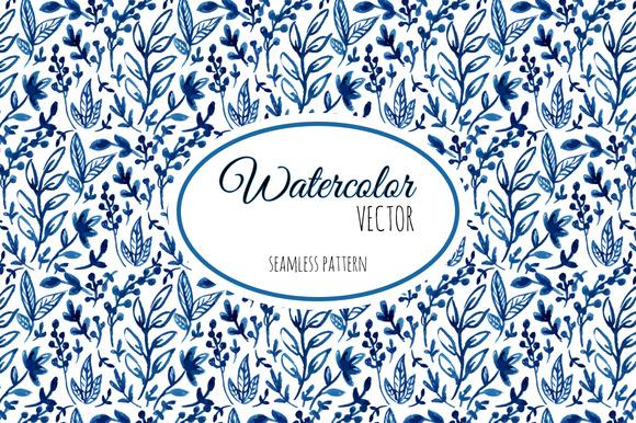 Watercolor Vector Leaf Pattern