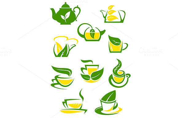 Herbal And Lemon Tea Cup Icons