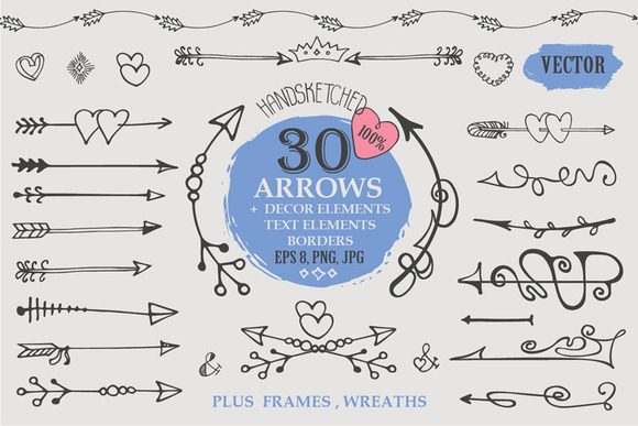 Hand Drawn Arrows Set.Vector Decor