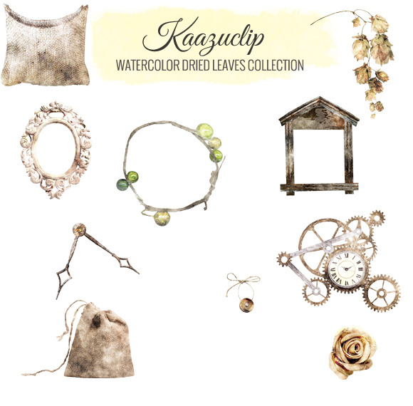 Watercolor Dried Leaves Collection