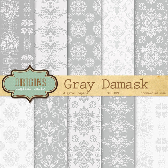 Gray Formal Damask Digital Paper