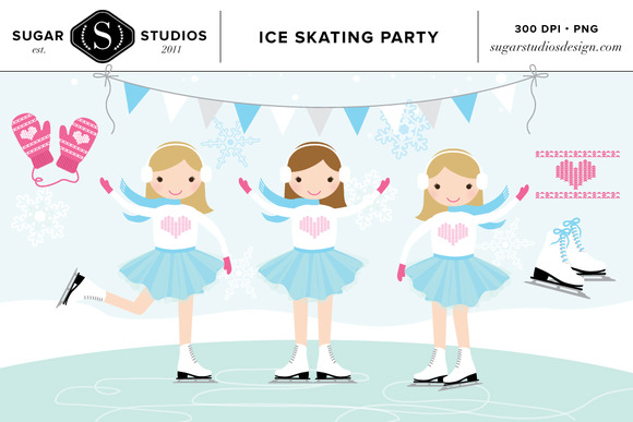 Ice Skating Party Clip Art Set