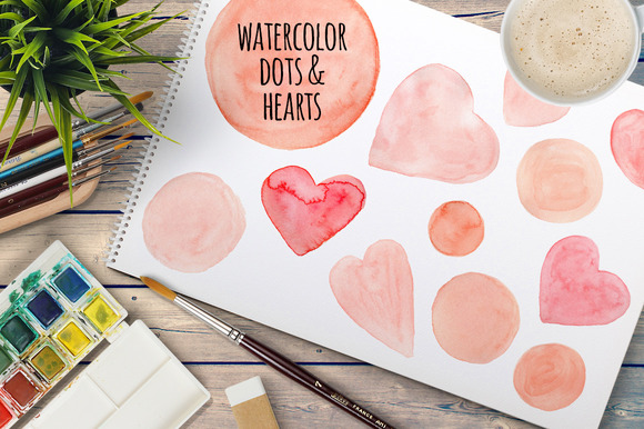 Watercolor Dots And Hearts