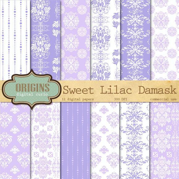 Lilac Purple Damask Digital Paper