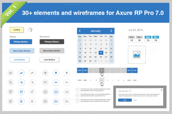 30 Elements For Axure Pro 7.0 Vol.1