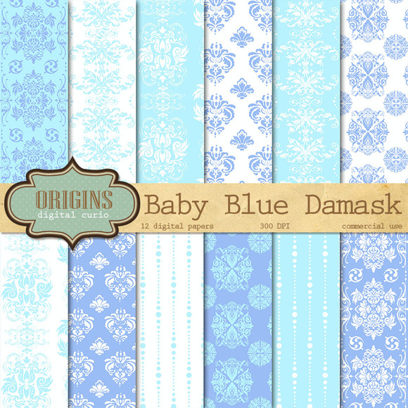 Baby Blue Damask Digital Paper