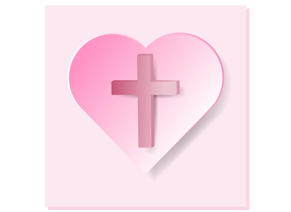 True Cross In Pink Heart On Pink Bac