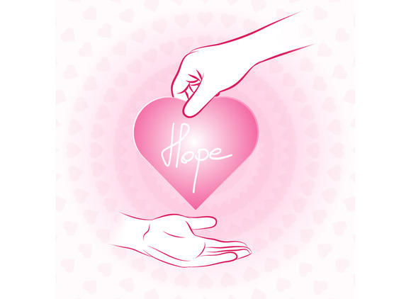 Hand Holding Pink Heart With Hope