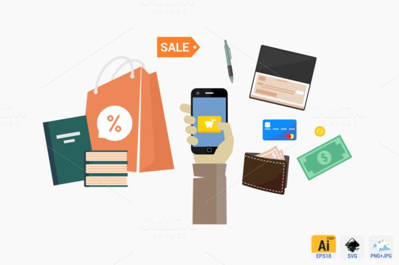 Mobile E Commerce Flat Concept