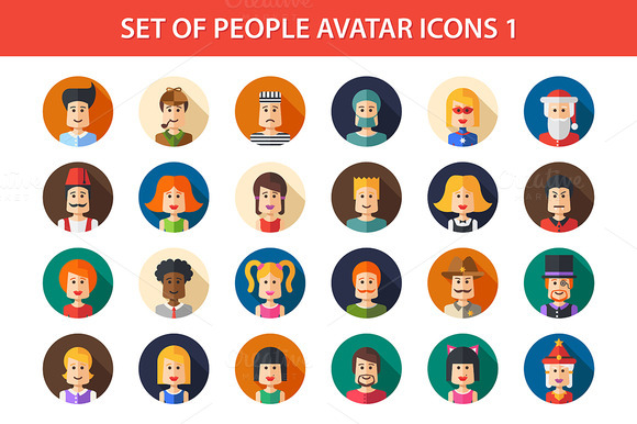 Flat People Icons Set 1