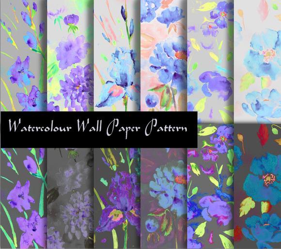 Watercolor Floral Pattern Purple