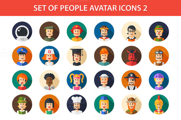 24 People Flat Icons Set 2