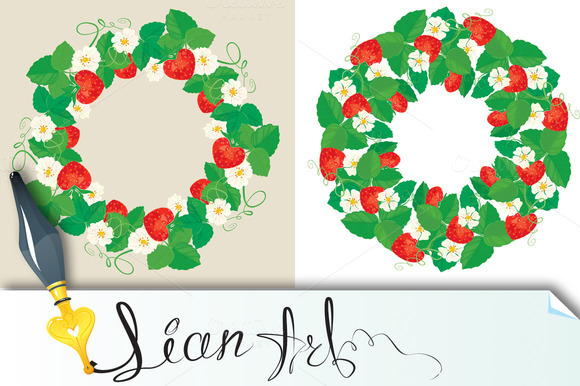 2 Circle Ornament With Strawberries