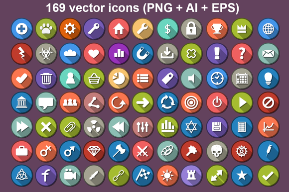 169 Flat Icon With Long Shadow
