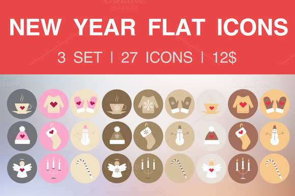Set Of 27 Flat Icons