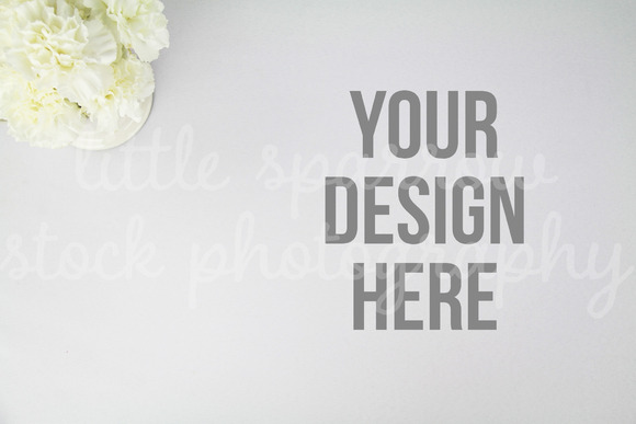 White Carnations Desktop Mock Up
