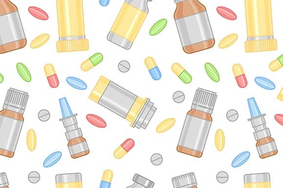 Pills And Drugs Seamless Pattern