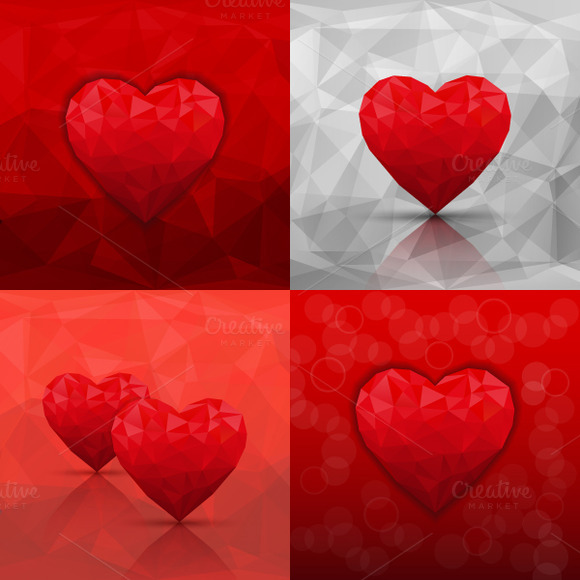 Set Of Backgrounds With Hearts