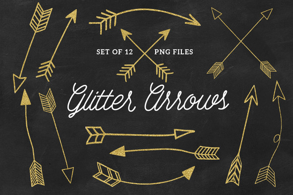 Gold Glitter Arrow Clip Arts