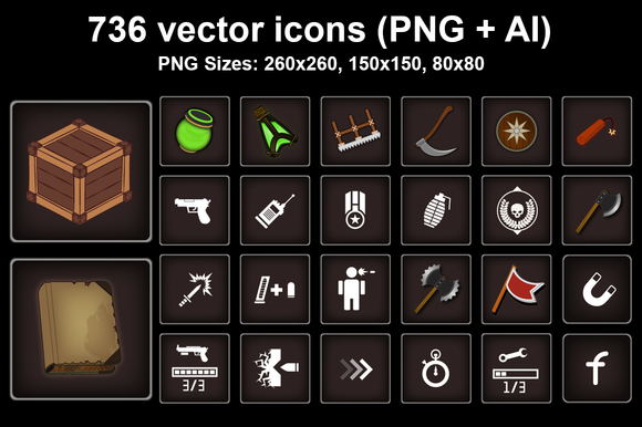 736 Vector Icon GUI Icons Pack