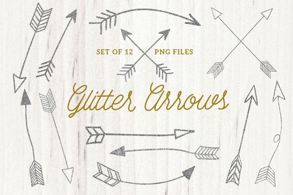 Silver Glitter Arrow Clip Arts