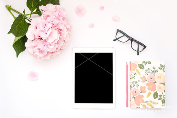 Mock Up IPad With Floral Notebook