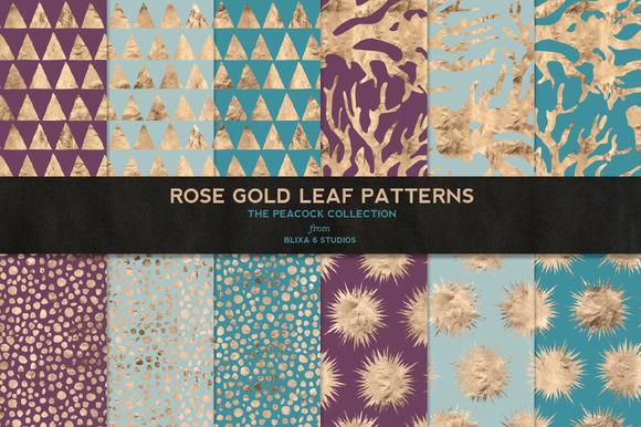 Rose Gold Leaf Digital Patterns No.2