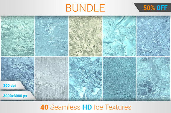 40 Ice Seamless HD Textures Bundle