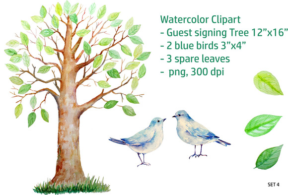 Guest Signing Tree Blue Birds