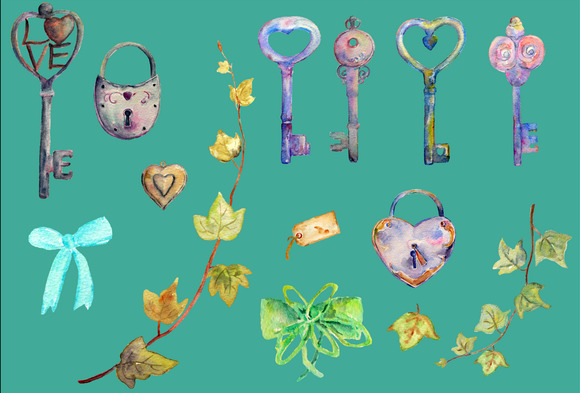 Watercolor Vintage Lock Key Heart
