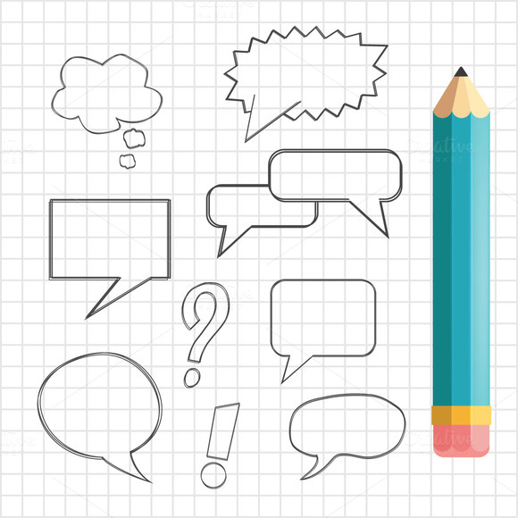 Speech Bubbles With Pencil