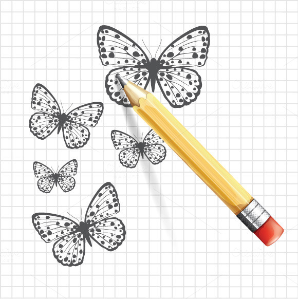 Butterfly Sketch And Pencil