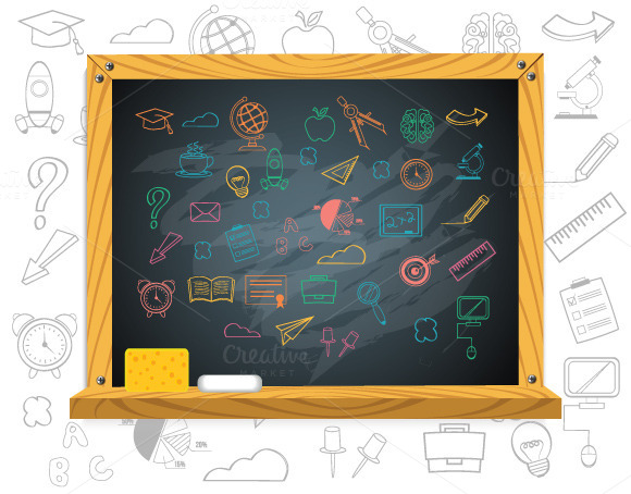 School Chalkboard Education Icons