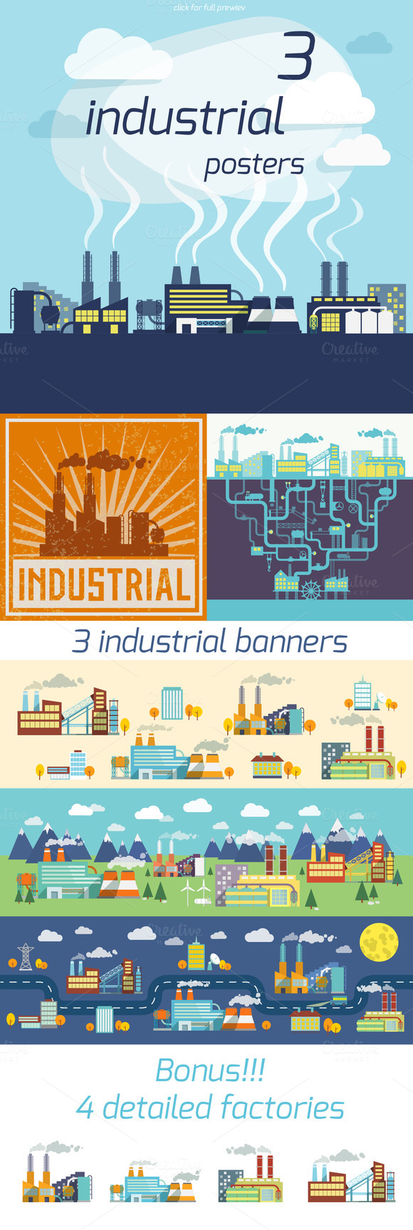 3 Industrial Factory Vector Posters
