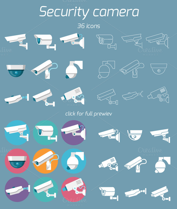 36 Security Camera Icons