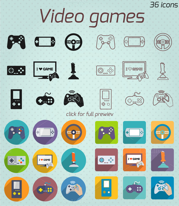 36 Video Games Vector Icons