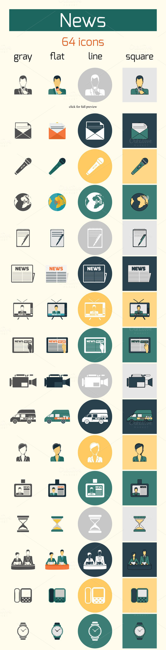 64 News Media Vector Icons Set