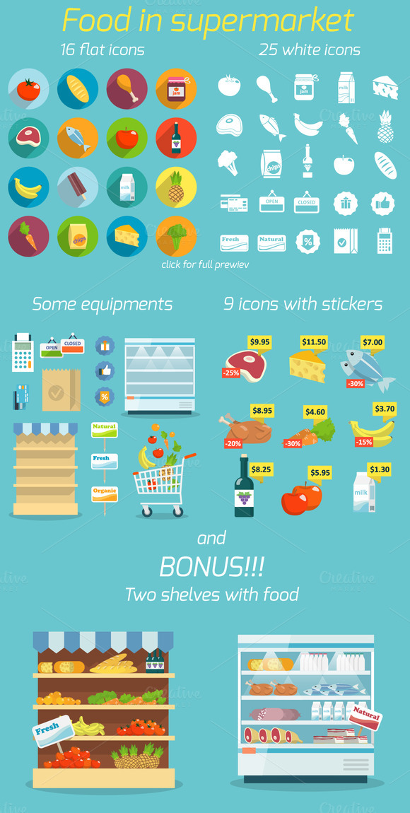 Supermarket Food Vector Icons