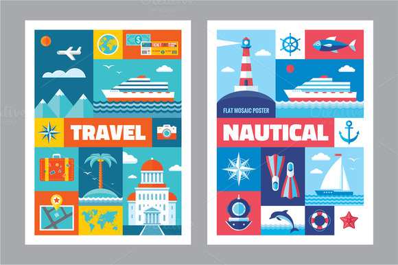 Travel Nautical Flat Posters