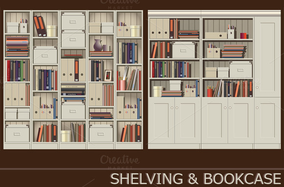 Shelving Bookcase Set