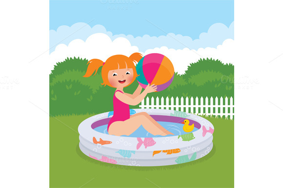Girl In An Inflatable Pool