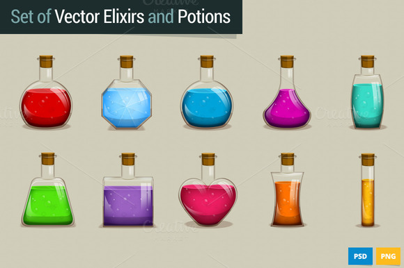 Set Of Vector Potions And Elixirs
