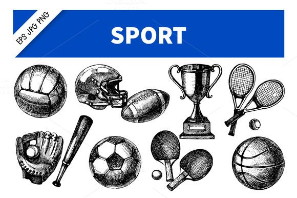 Hand Drawn Sketch Sport Vector Set