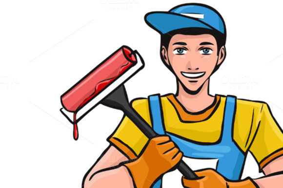 Worker In Overalls Hold Paint Roller
