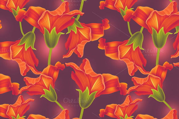 Tropical Flowers Seamless Pattern